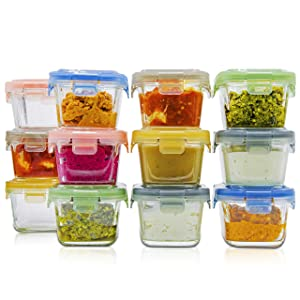 lunchley Glass Baby Food Storage Jars | Set of 12 | 5 oz Baby Food Jars with Lids | Freezer Storage | Reusable Small Glass Baby Food Containers | Microwave & Dishwasher Safe | for Infant & Babies