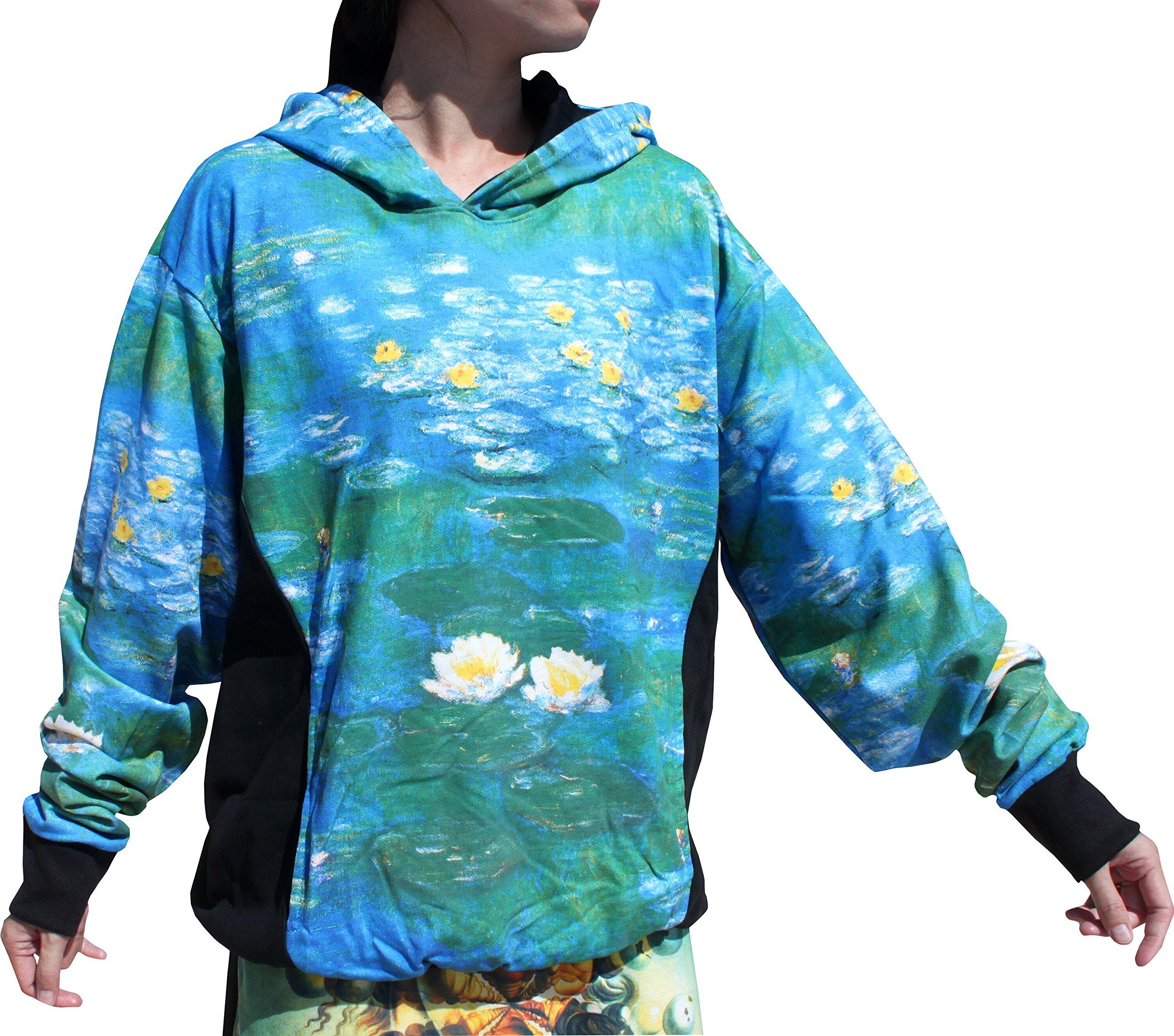 RaanPahMuang Water Lilies Fine Art by Claude Monet - Hoody Long Sleeve Sweater, Medium