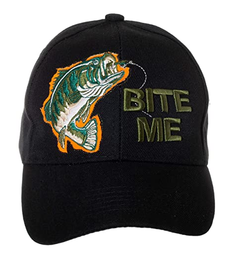 Artisan Owl Bite Me Funny Fishing Hat - 100% Cotton Embroidered Cap (Bite Me fa4757c7968