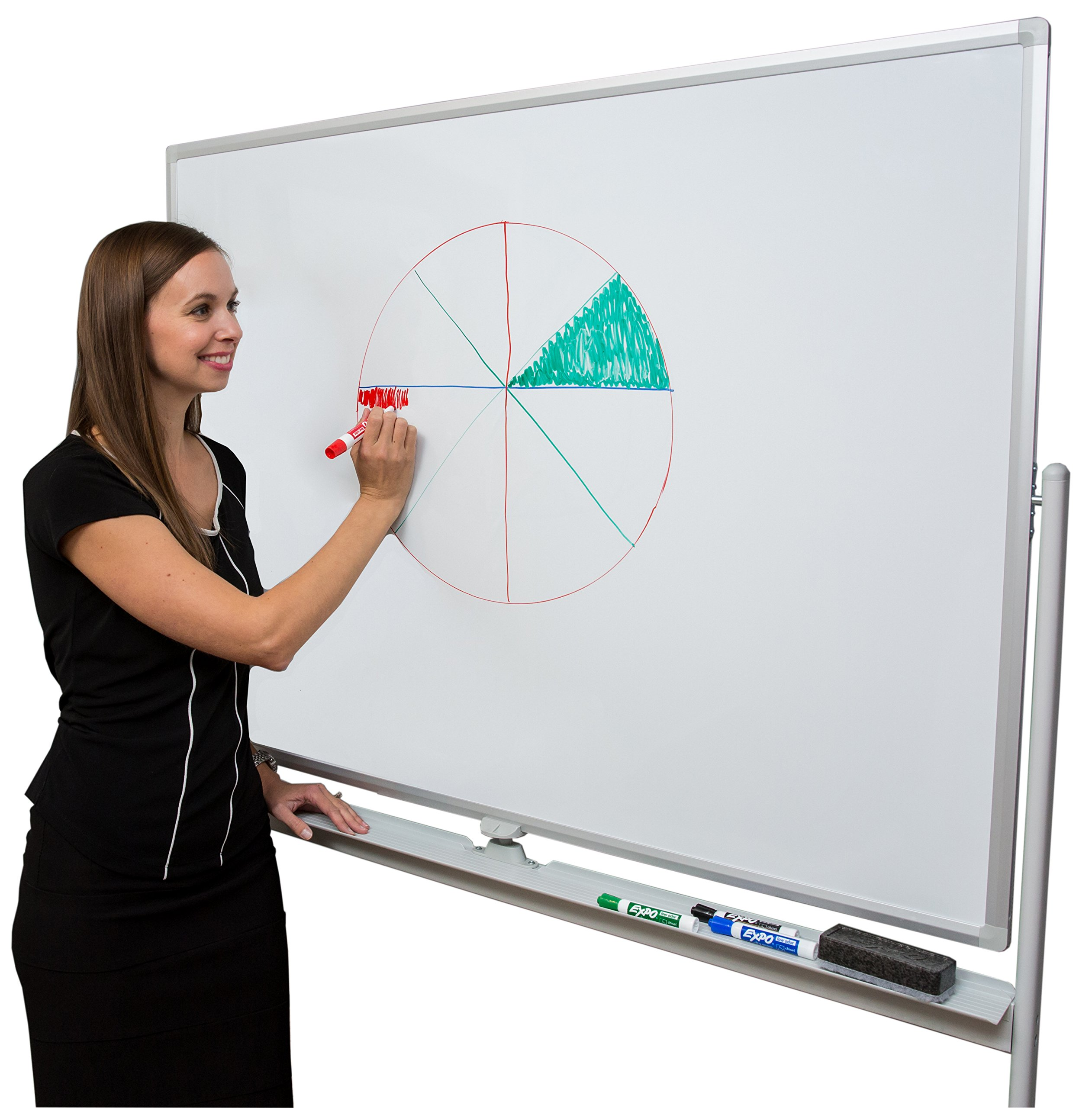 Induxpert Giant Mobile Dry Erase Magnetic Whiteboard - Double-Sided - Flip Sides Quickly With Lock/Unlock Feature - Sturdy Frame - Easy to Clean and Assemble - 47 X 36