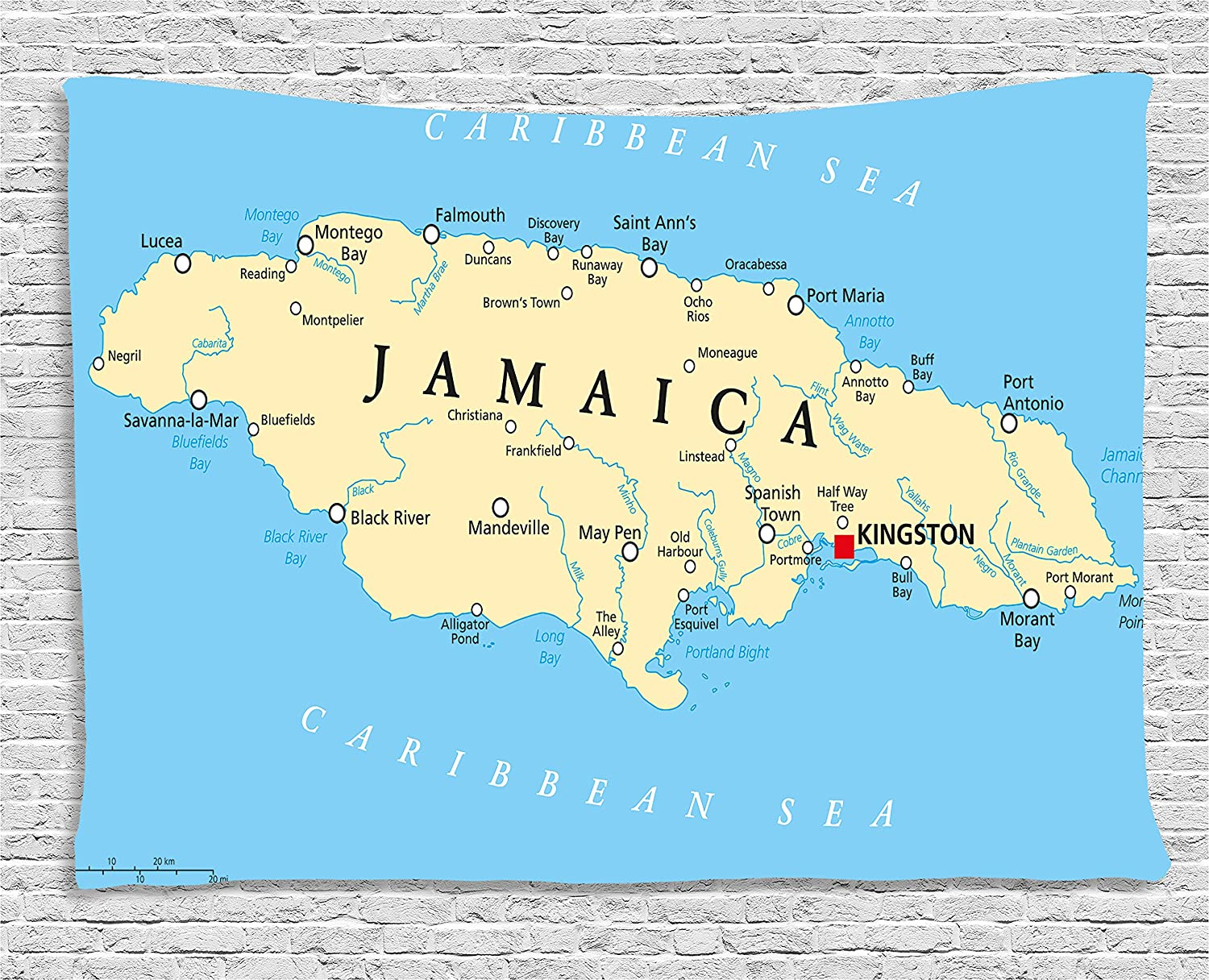 Ambesonne Jamaican Tapestry, Map of Jamaica Kingston Caribbean Sea  Important Locations in Country, Wall Hanging for Bedroom Living Room Dorm,  60 WX 40 ...