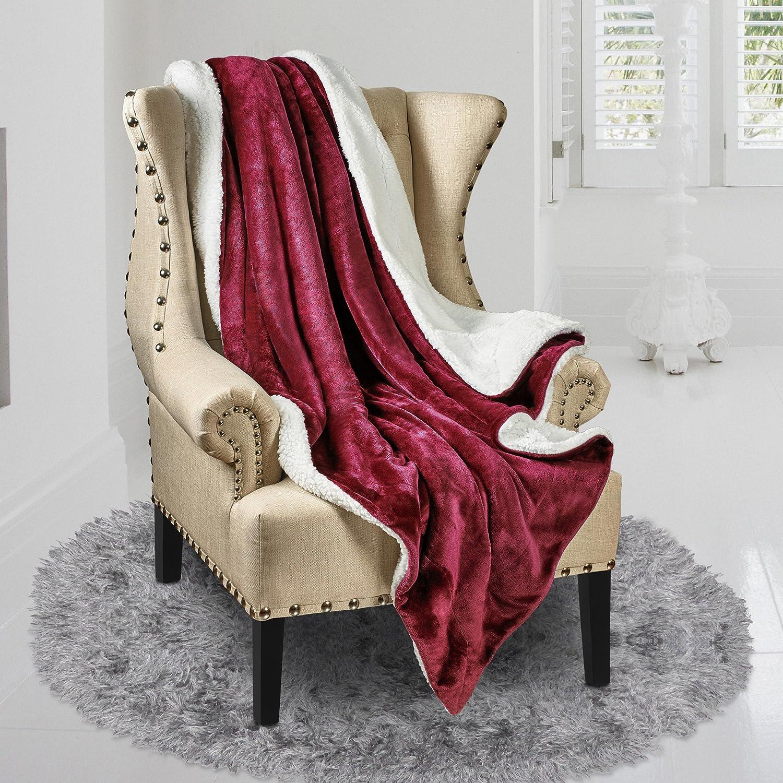 "Reversible Ultra Luxurious Plush Blanket (50"" X 60"", Gray"
