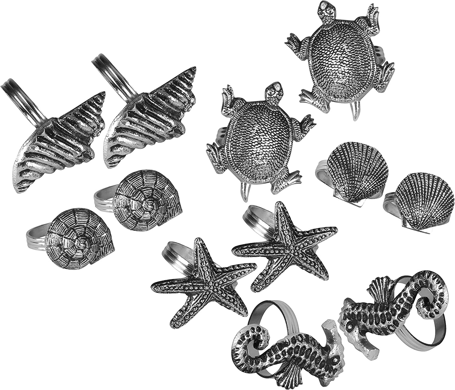 Coastal Theme Sea Shells Metal Napkin Rings - Set of 12 For Dinner Parties, Weddings Receptions, Family Gatherings, or Everyday Use - Set Your Style with Daily Use Table Décor Accessories (Antique)