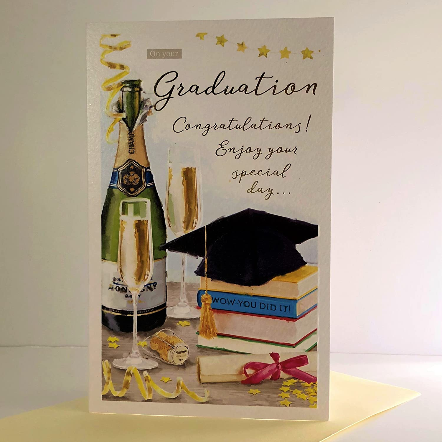 Essence Range ICG-8355 Artistic Graduation Card - Embossed and Foil Finish - Champagne and Graduation Cap