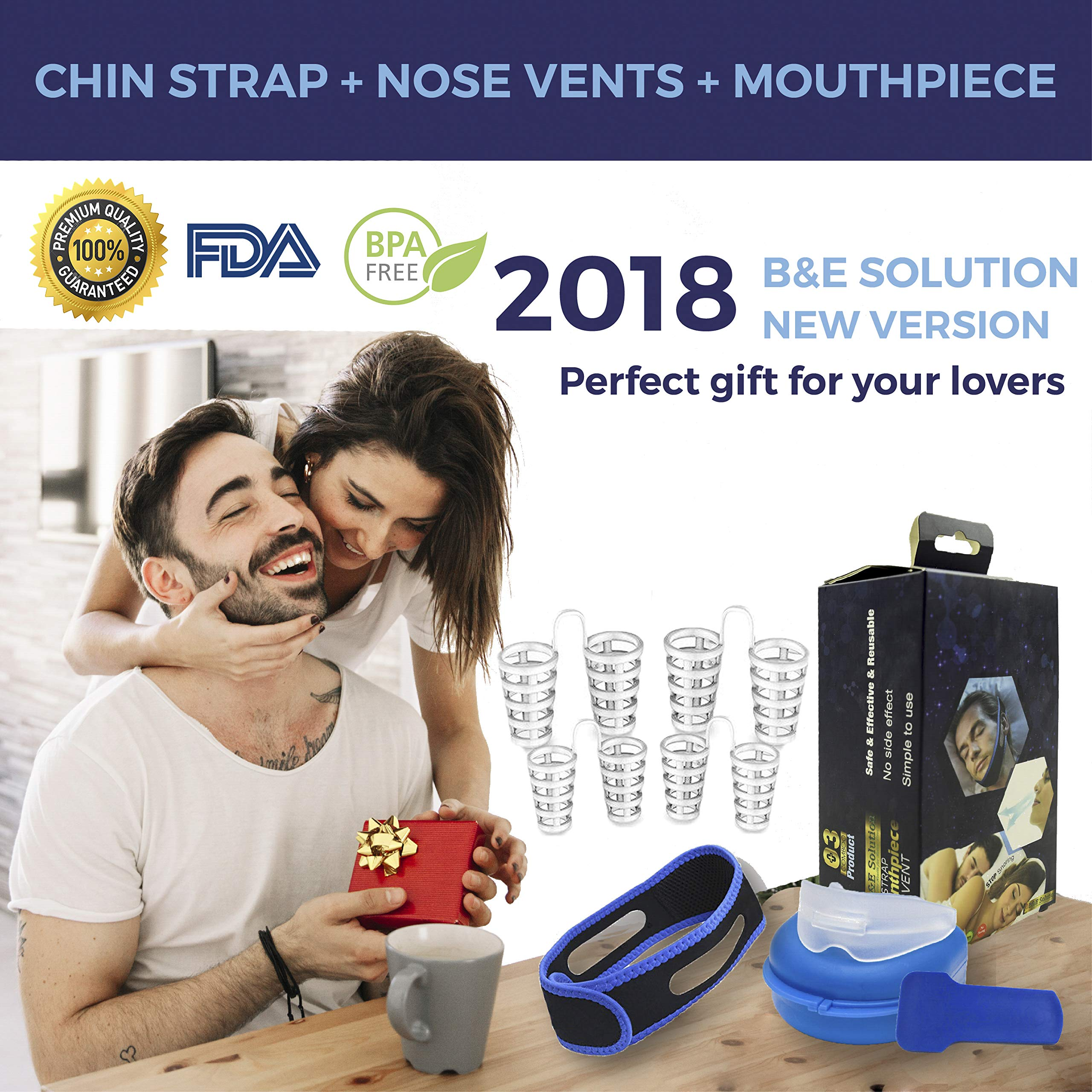 Stop Snoring Chin Strap with 4pcs Anti-Snoring Nose Vents & Mouthpiece for Men & Women –Adjustable Snore Stopper Chin Strap – Natural Snore Reducing Sleep Aid Devices & Stop Teeth Grinding