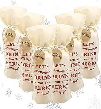 Amazon.com: Bolsas de regalo para vino de Navidad, juego de ...