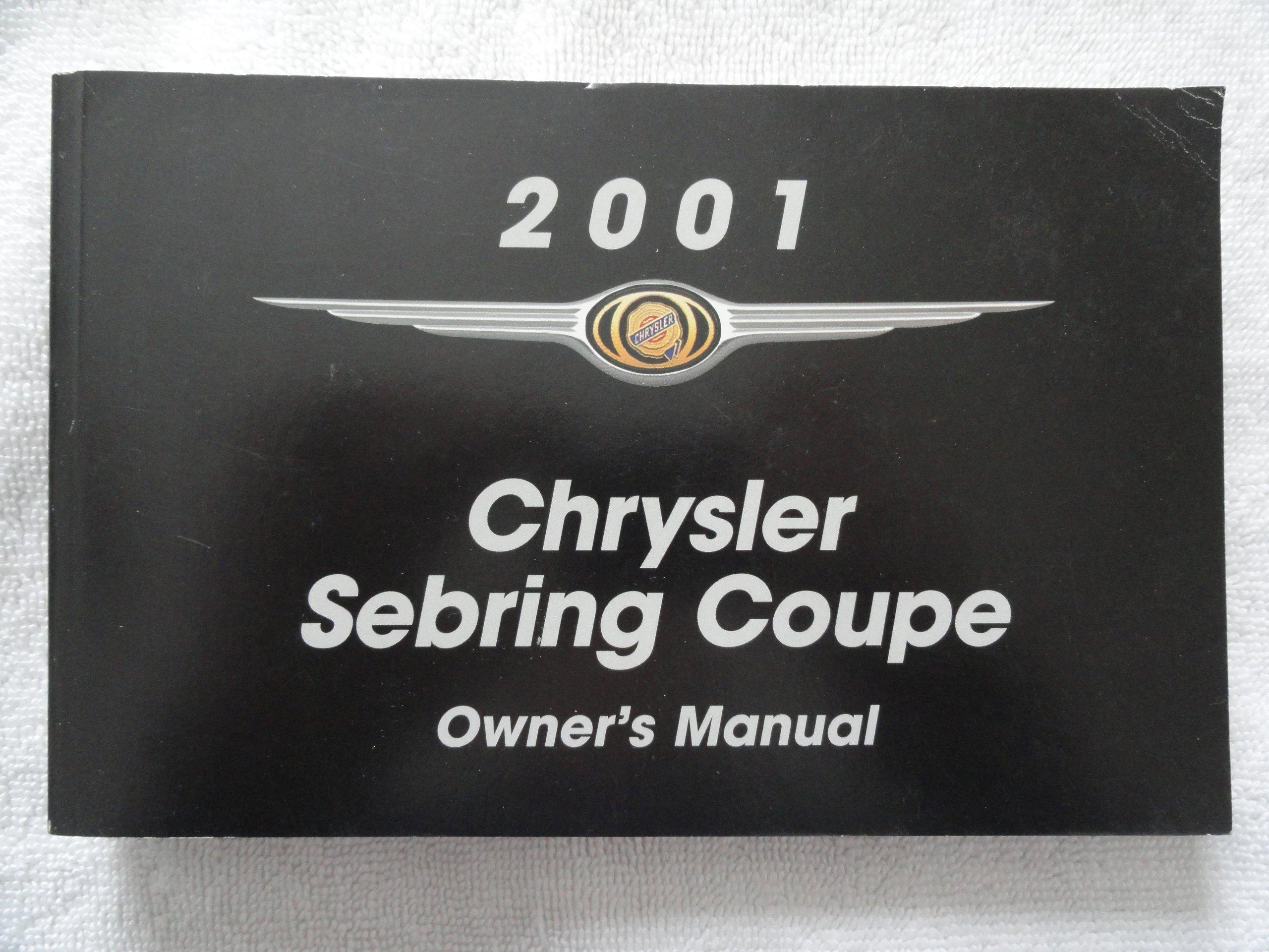 2001 chrysler sebring coupe owners manual chrysler amazon com books rh amazon com 2001 chrysler sebring convertible owners manual 2000 chrysler sebring owners manual