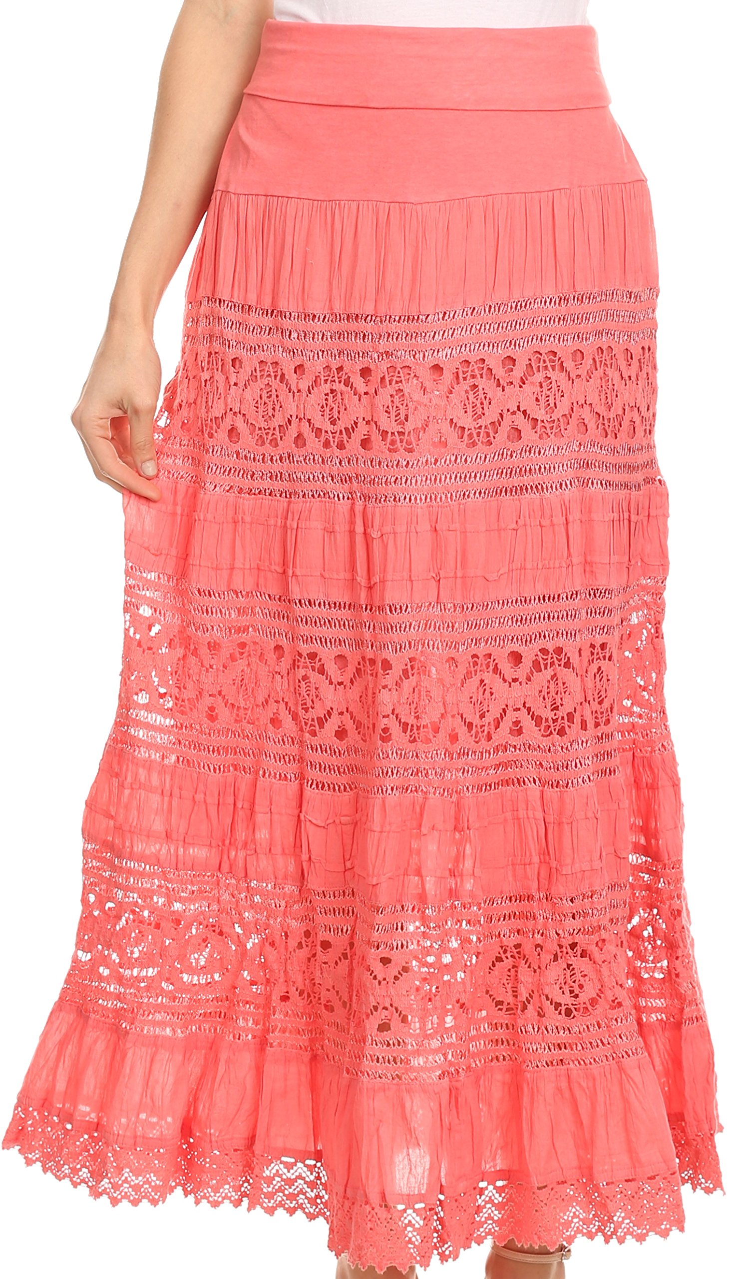 Sakkas 1238 - Gracie Crochet Lace Tiered Long Cotton Skirt with Fold-Over Waistband - Melon - L