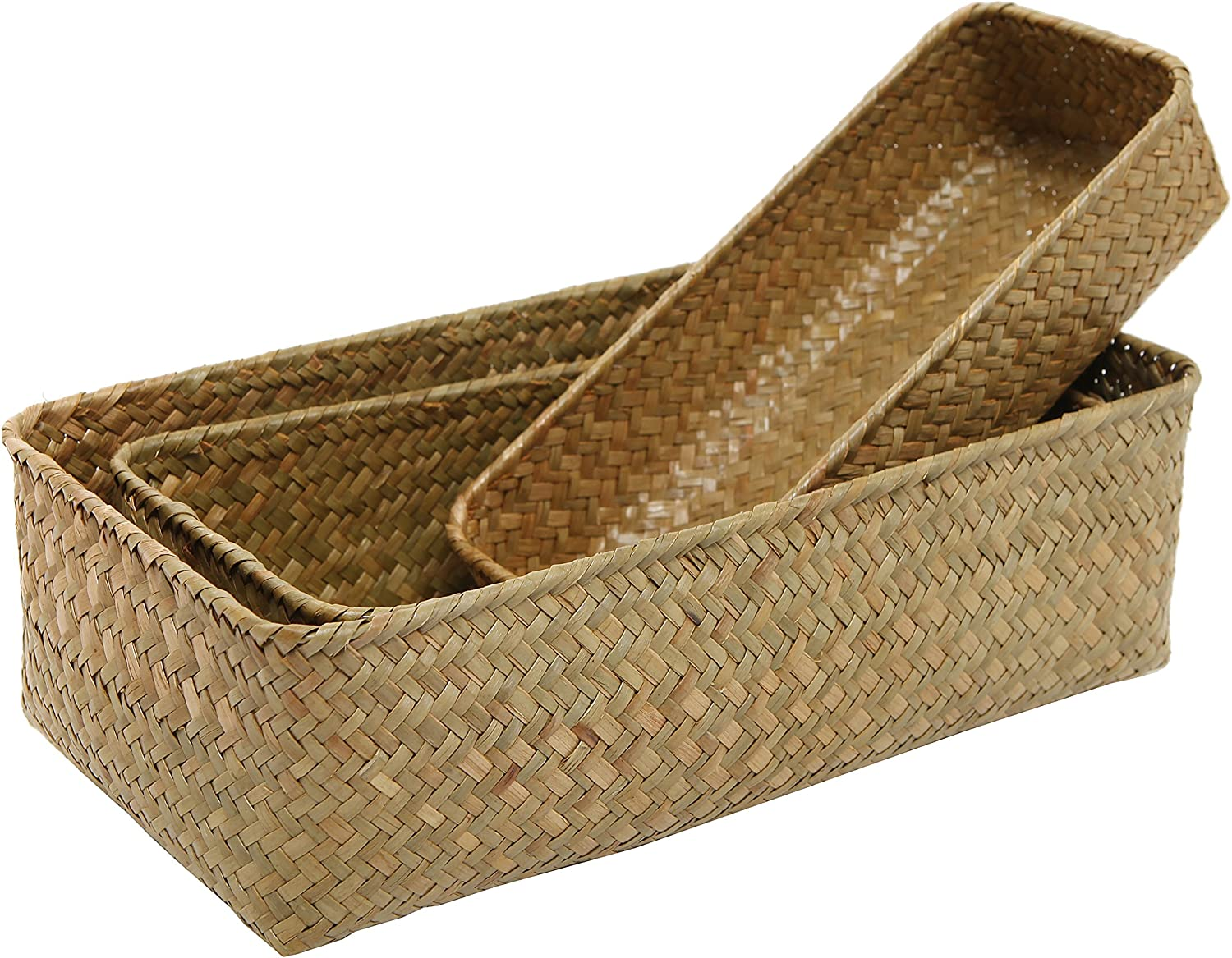 MyGift Set of 3 Rectangular Handwoven Natural Seagrass Wicker Nesting Storage Baskets and Home Organizer Bins