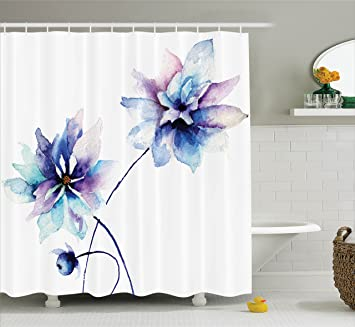 Watercolor Flower Decor Shower Curtain By Ambesonne Elegant Drawing With Soft Spring Colors Retro