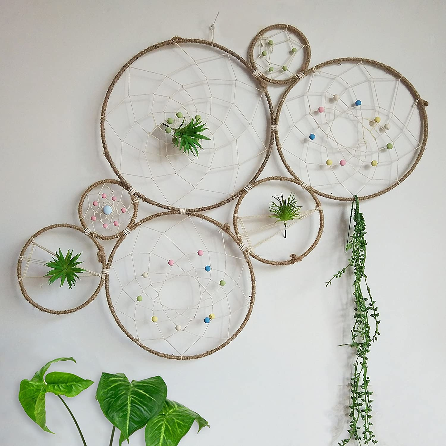 RISEON DIY Large Boho Tillandsia Dream Catcher Natural Air Plant Wall Hanger Holder Stand, Dreamcatcher Set-Wall Display Accent-Rustic Wedding Backdrop, with Faux Artificial Succulent Cactus Plants