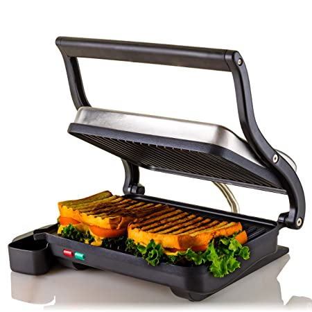 Ovente Electric Panini Press Grill, 2-Slice 1000W Heating Plate, 10.2 x 6.7 , Auto Shut Off, Nickel Brushed GP0620BR