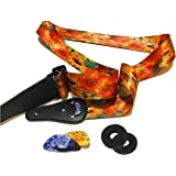 "Van Gogh ""Sunflowers"" Guitar Strap Bundle Includes 2 Strap Locks & 2 Matching Van Gogh Picks Adjustable Polyester Guitar Strap Suitable For Bass, Electric & Acoustic Guitars."