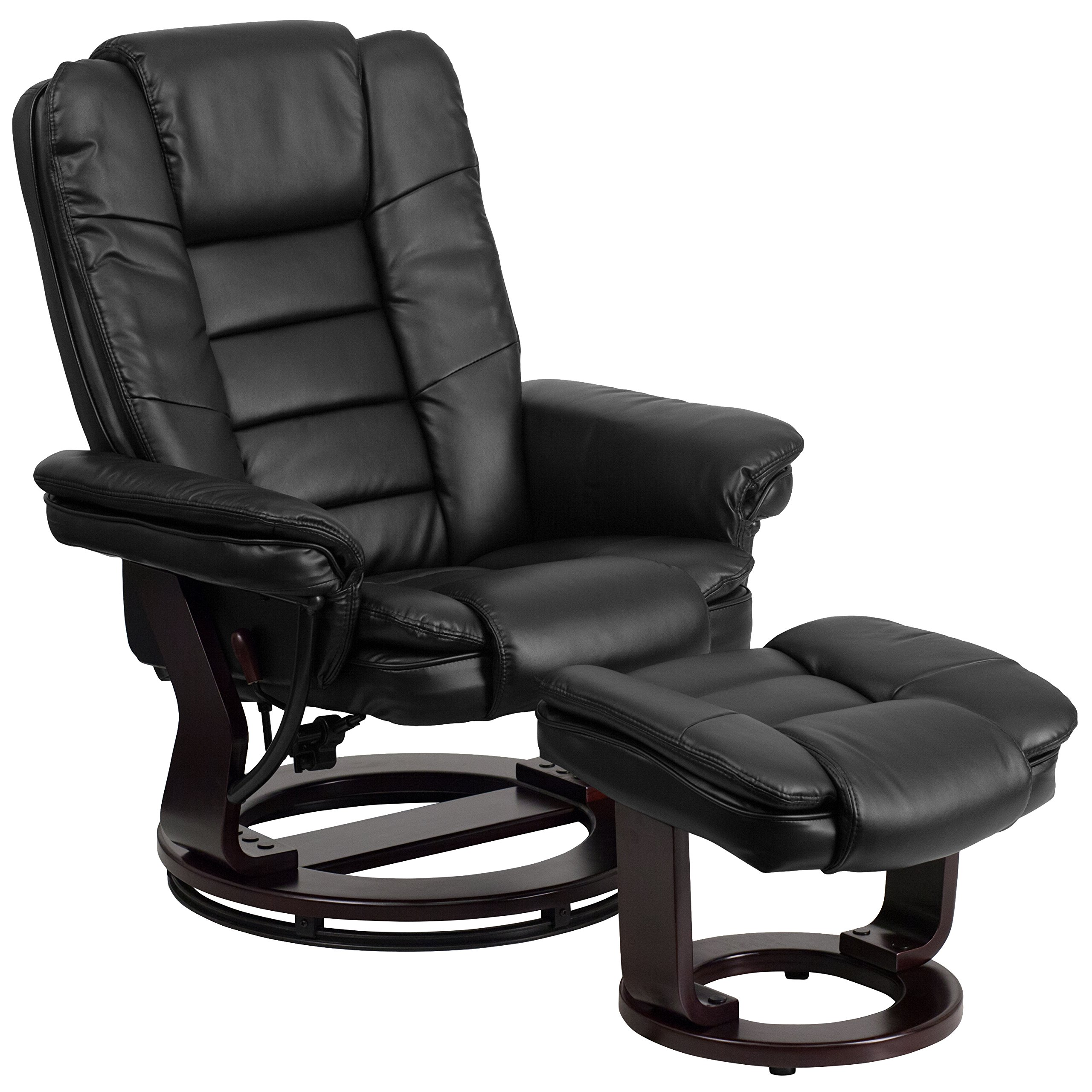 Flash Furniture Contemporary Multi-Position Recliner with Horizontal Stitching and Ottoman with Swivel Mahogany Wood Base in Black Leather by Flash Furniture