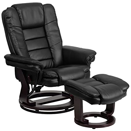 Flash Furniture Contemporary Black Leather Recliner / Ottoman