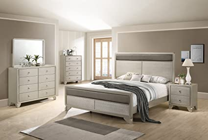 Roundhill Furniture B480KDMNC 5 Piece Keila Contemporary Bedroom Set King  Bed, Dresser, Mirror, Nightstand, Chest Champagne Silver
