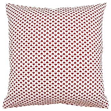 Landhaus Kissen kissenbezug 50x50 cm herzen punkte rot und weiß baumwolle