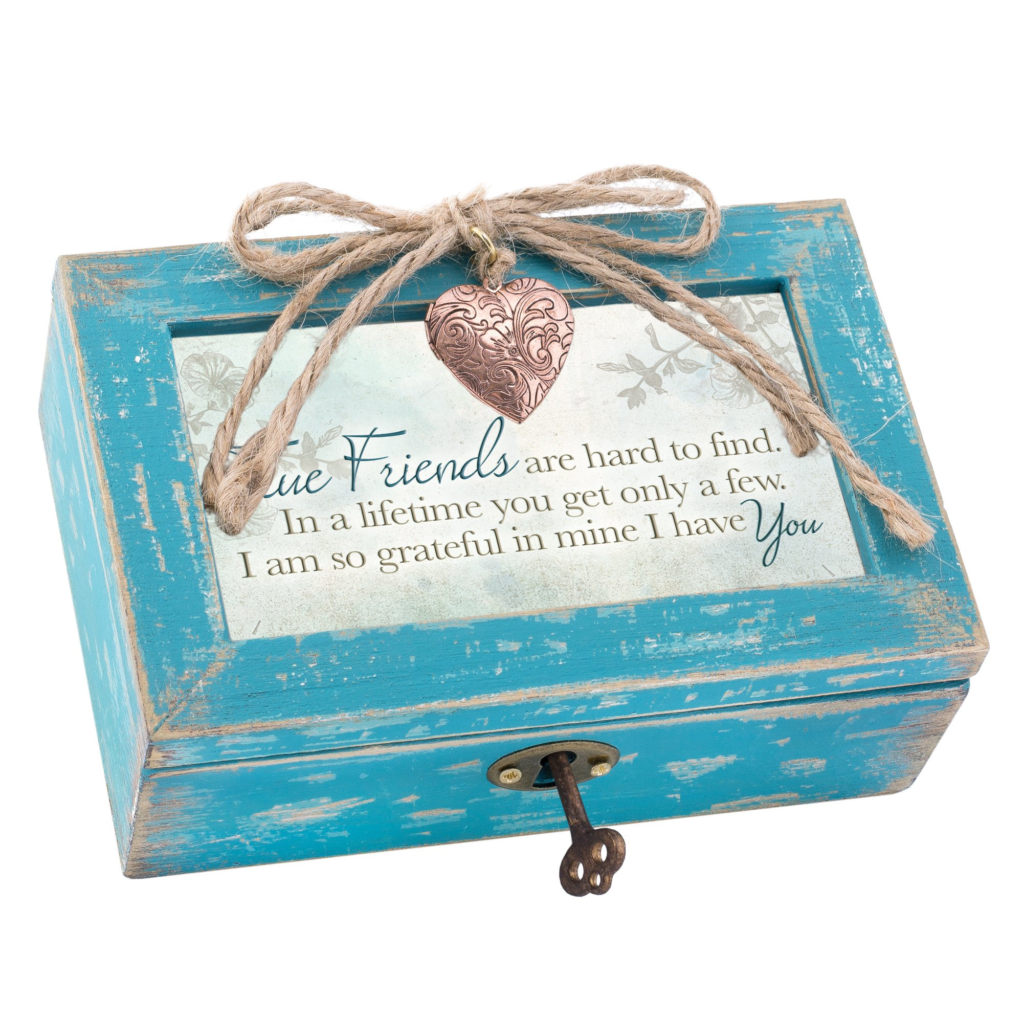 True Friends Grateful Teal Wood Locket Jewelry Music Box Plays Tune That's What Friends are for by Cottage Garden