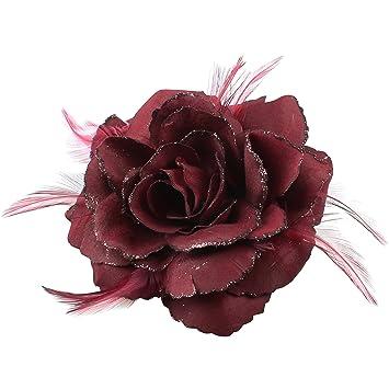 ROSE HAIR ELASTIC LARGE ROSE FASCINATOR ROSE HAIR ACCESSORIES BROOCH PIN WEDDING