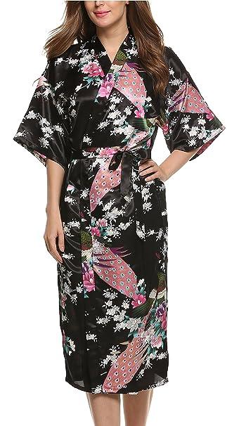 b6a5c085c Avidlove Pijama Lencería Kimono Largo Pavo de satén y Estampado Floral para  Mujer: Amazon.es: Ropa y accesorios