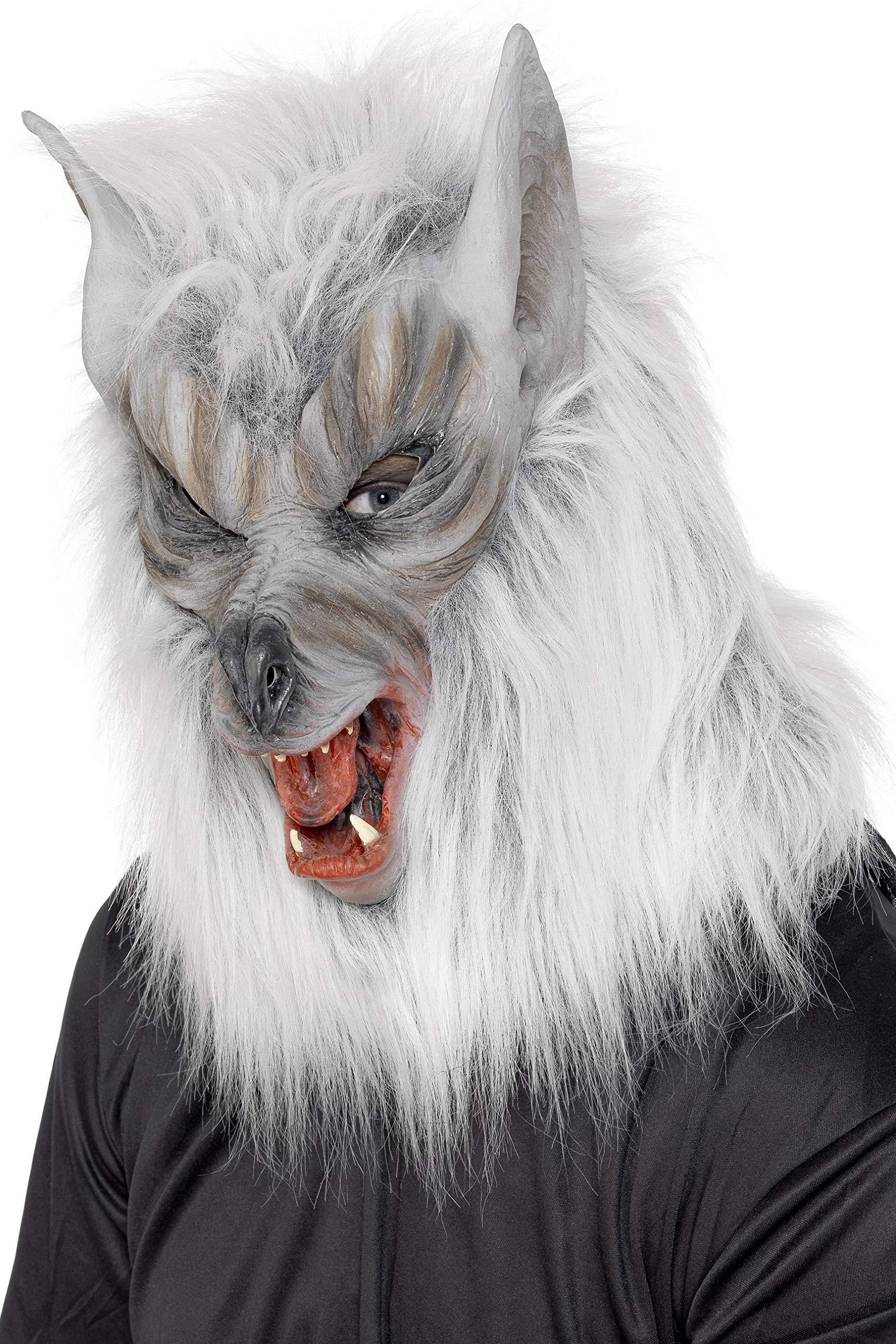 Smiffys 25564 Déguisement Homme Masque de Loup Tête Complète Latex, Gris, Taille Unique product image
