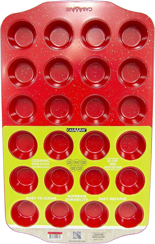 CasaWare Mini Muffin Pan 24 Cup Ceramic Coated Non-Stick (Red Granite)