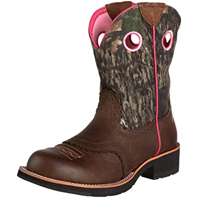 667aff68ec157 Ariat Women's Fatbaby Cowgirl Western Cowboy Boot, Distressed Brown/Camo,  ...