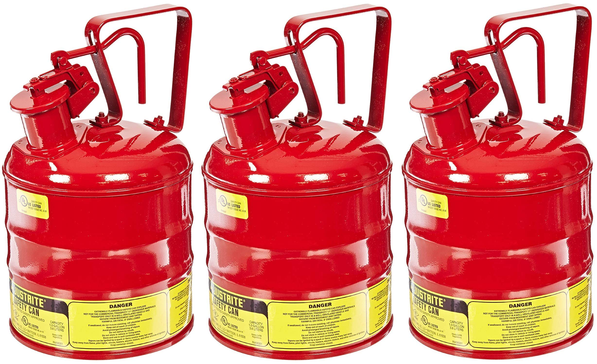 Justrite 10301 Type I Steel Flammables Safety Can, 4L Capacity, Red (Pack of 3)