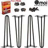"Hairpin Legs 16"" inch, Black, 3 Rods, 1/2"" Thick, Heavy Duty - Set of 4 Legs, 4 Floor Protectors, 20 Screws - For Modern Coffee Table, Metal Furnitures, Mid Century or Rustic Tables Legs"