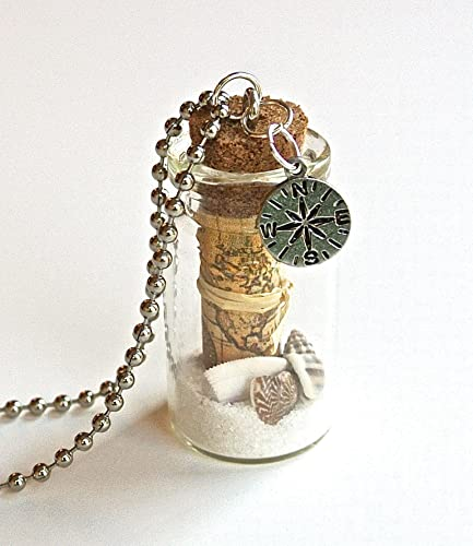Amazon old world map bottle necklace glass bottle with mini old world map bottle necklace glass bottle with mini map nautical compass charm gumiabroncs Gallery