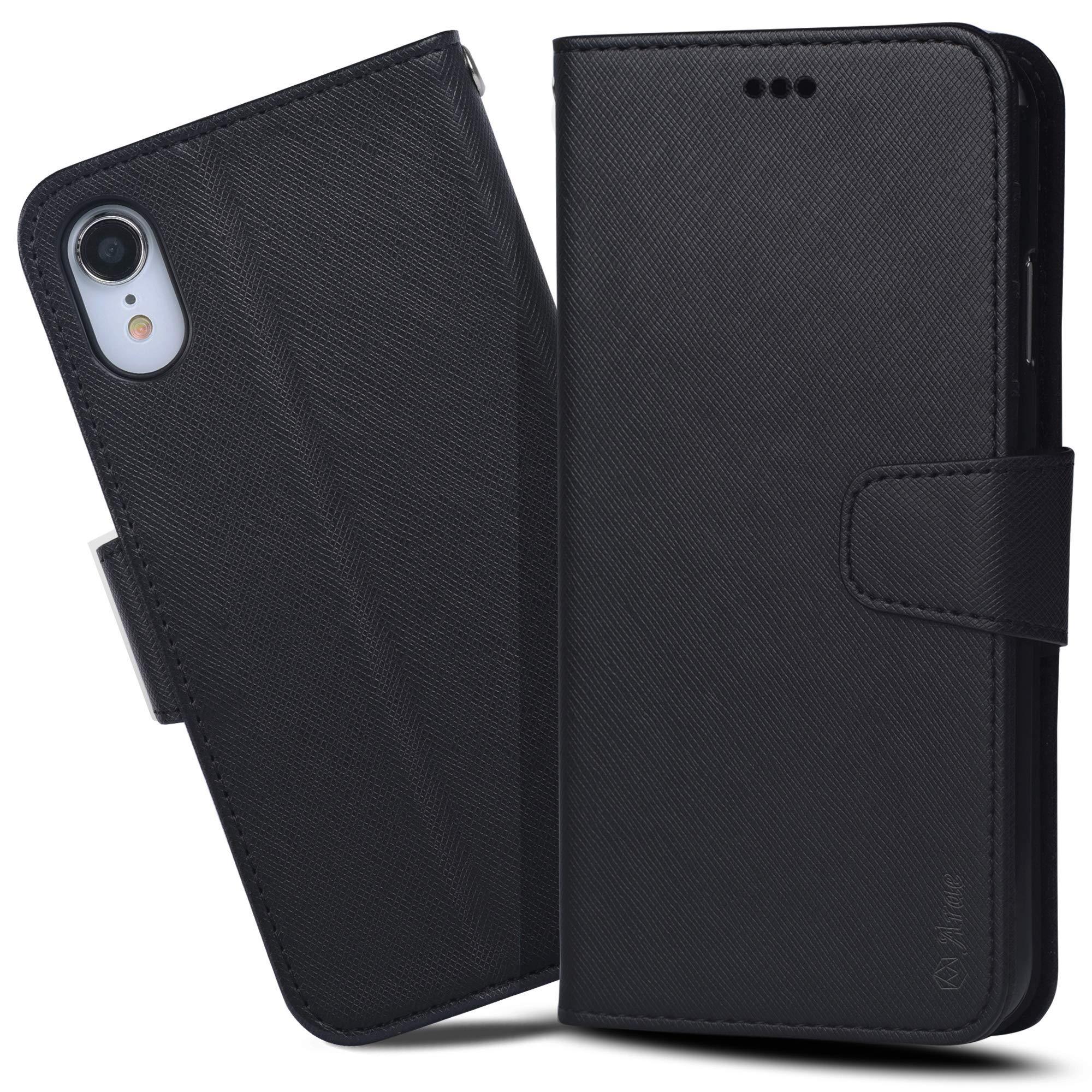 iPhone Xr ケース 手帳型 Arae ワイヤレス充電対応 スマホケース iPhoneXr ケース 横置き機能 カードポケット付き アイフォンXr 6.1インチ 2018 用 財布型 ケース カバー(ブラック)