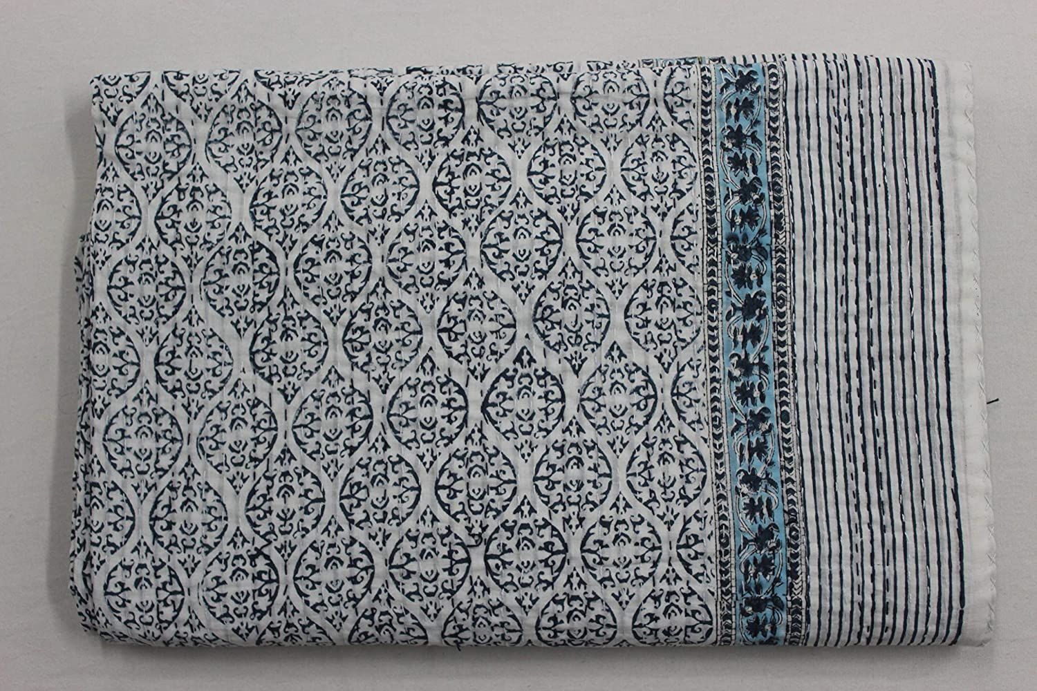 Vintage Kantha quilts Hand Stitched Quilt Indian Cotton Bohemian Boho Block Printed,Coverlet