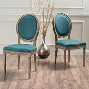 Christopher Knight Home 300256 Phinnaeus Fabric Dining Chair (Set of 2), Dark Teal