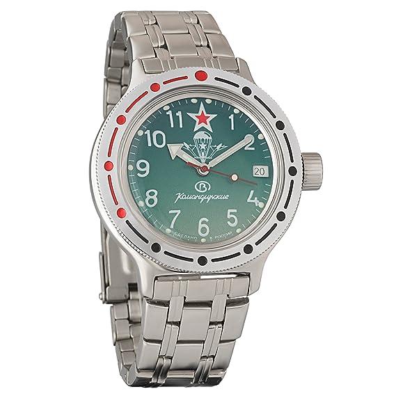 Vostok Amphibian 420307 Ruso Militar reloj 2416b 200 m auto VDV Paratrooper: Amazon.es: Relojes