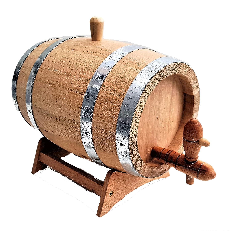 2 L IN LEGNO BAULETTO LEGNO QUERCIA botte con legno rubinetto, per invecchiamento SPIRITI nattoyz