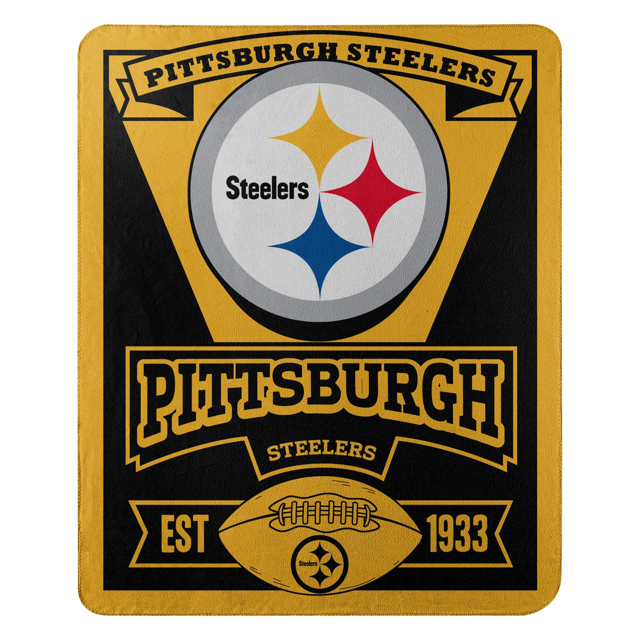 The Northwest Company Officially Licensed NFL Pittsburgh Steelers Marque Printed Fleece Throw Blanket, 50'' x 60'', Multi Color by The Northwest Company