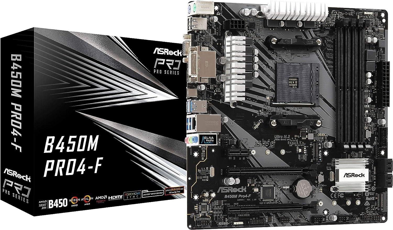 Asrock B450M PRO4-F AMD B450 AM4 Micro ATX 4 DDR4 XFire VGA DVI HDMI M.2