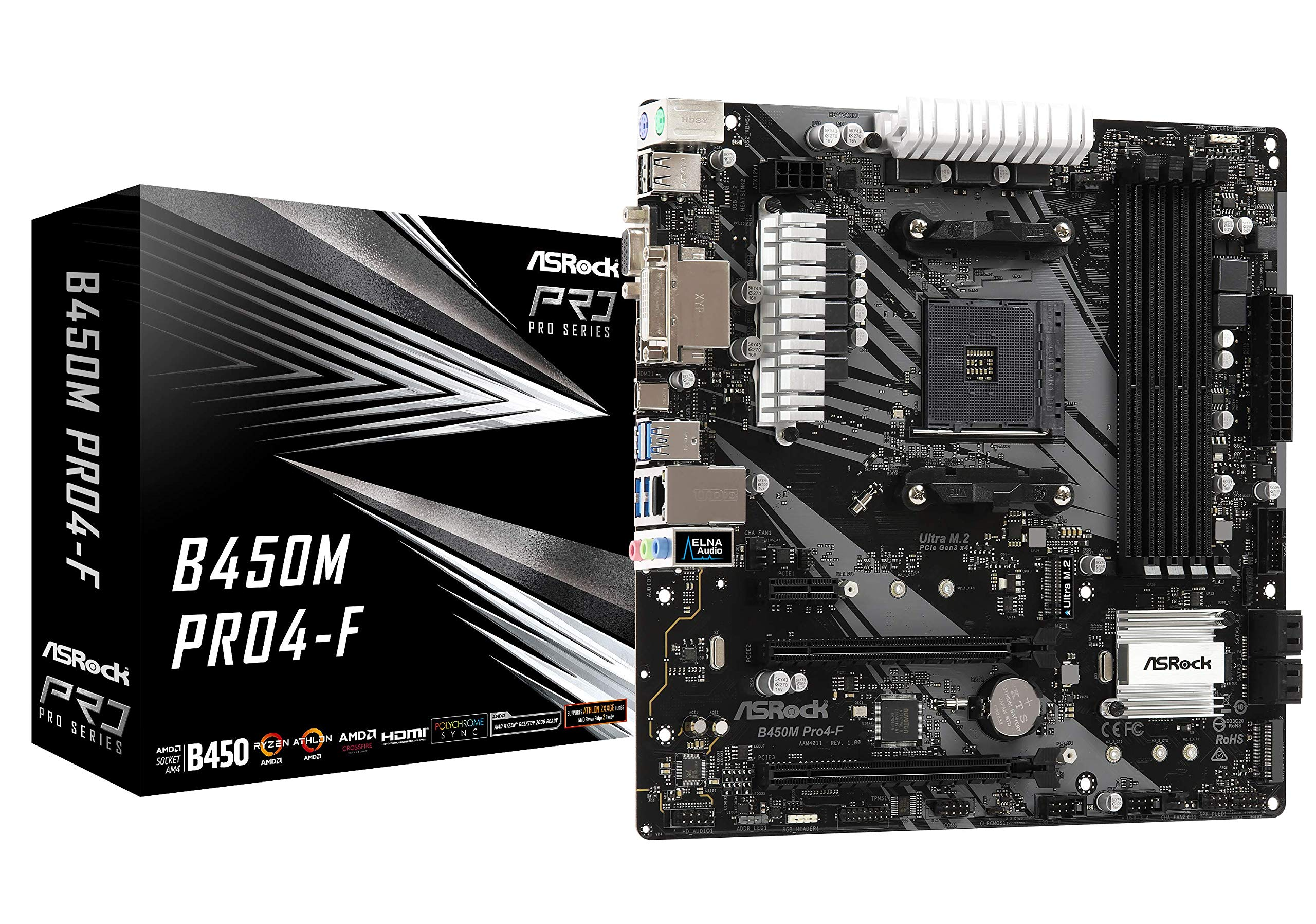 ASRock B450M PRO4-F Socket AM4/ AMD Promontory B450/ DDR4/ Quad CrossFireX/ SATA3&USB3.1/ M.2/ A&GbE/MicroATX Motherboard by ASRock