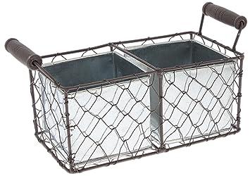 MayRich 9.75u0027u0027 Decorative Wire Basket With Tin Containers