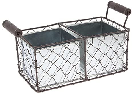 Mayrich 9 75 Decorative Wire Basket With Tin Containers