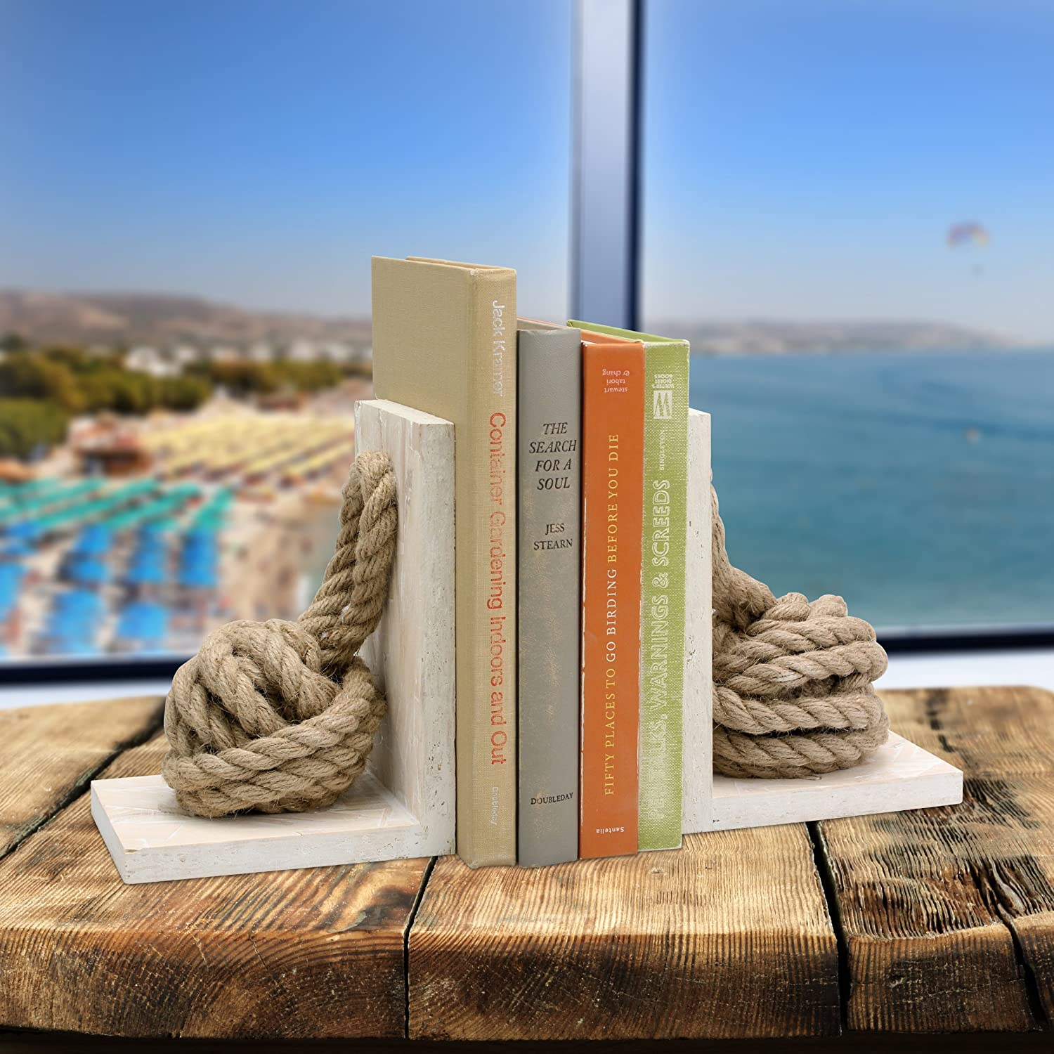 Pack of 2 Stonebriar SB-6066S2 Beach House White Wood Bookends