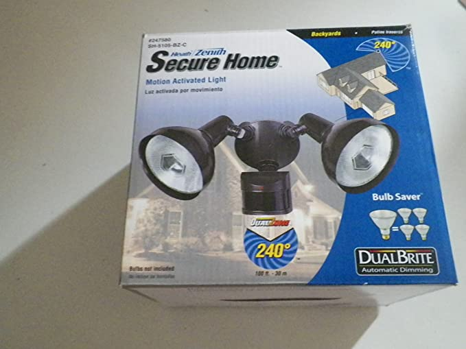 Secure Home 240-Degree 2-Head Dual Detection Zone Bronze Halogen Motion-Activated