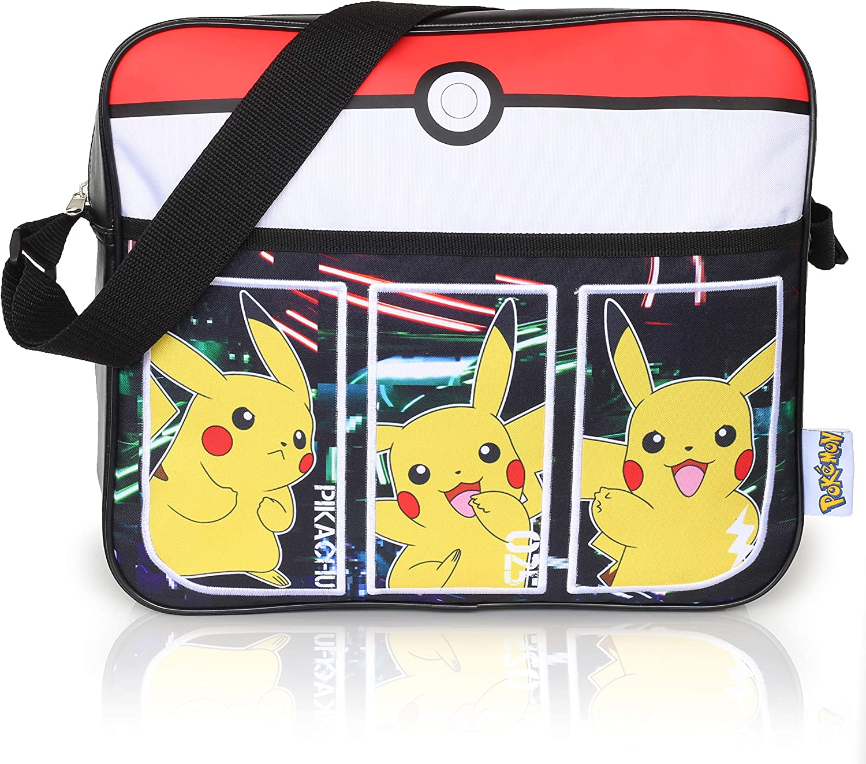 Bolsos Infantiles Negros Pokémon para Niños | Bolsa De Mensajero Deportiva con Pikachu | Mochila Pokemon con Correa Larga para Usar como Bandolera | Bolsa De Viaje Elegante | Regalo De Cumpleaños