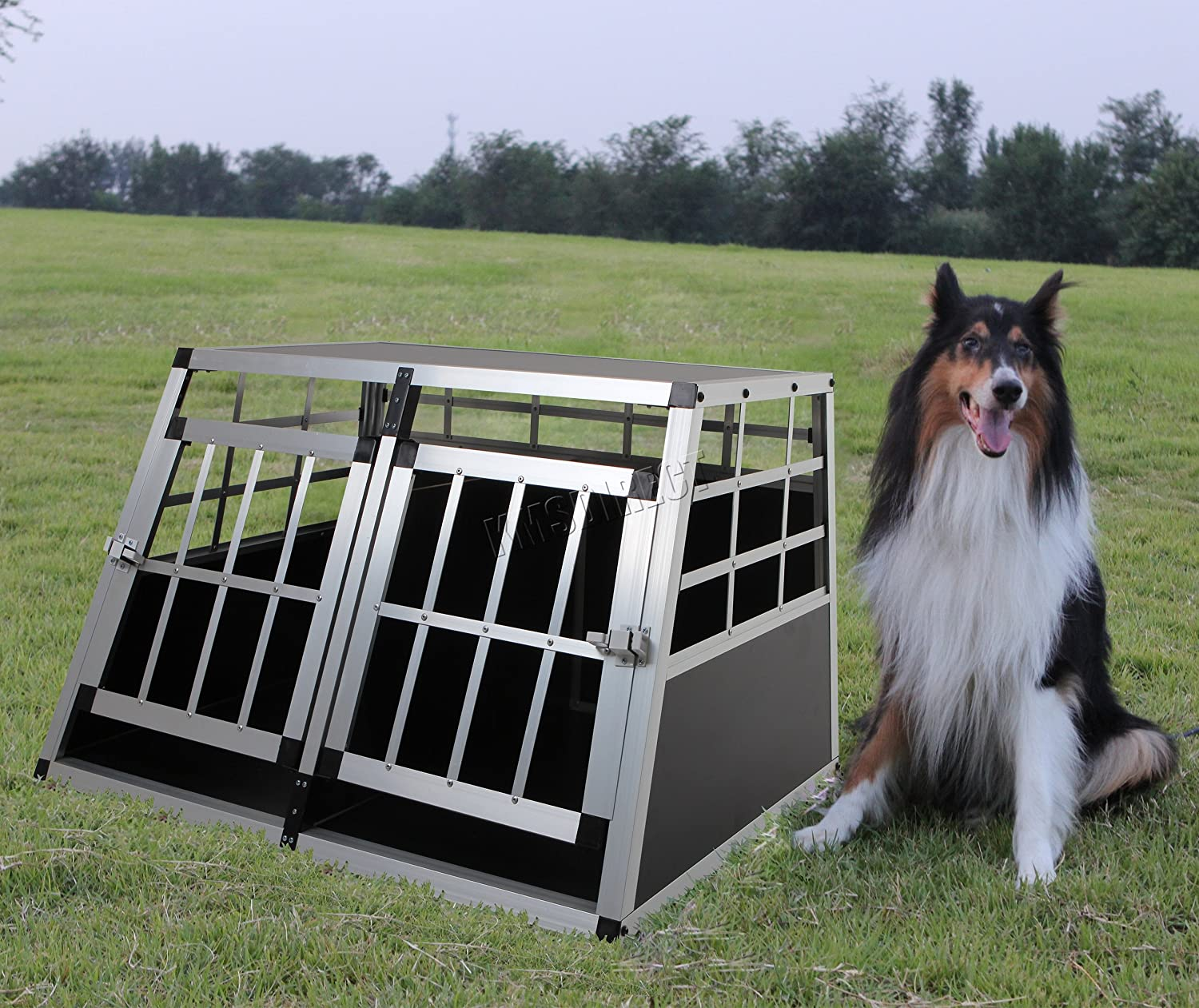 FoxHunter Aluminium Dog Puppy Cat Pet Cage Kennel Animal House Portable Transport Travel Divider Crate Carrier Box Training Double Door Large Sturdy PCA02