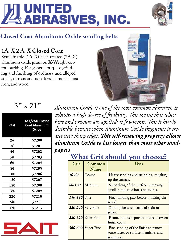 "Sait 57207 3/"" x 21/"" 120 Grit Belt Sander Sanding Belt 10x New"