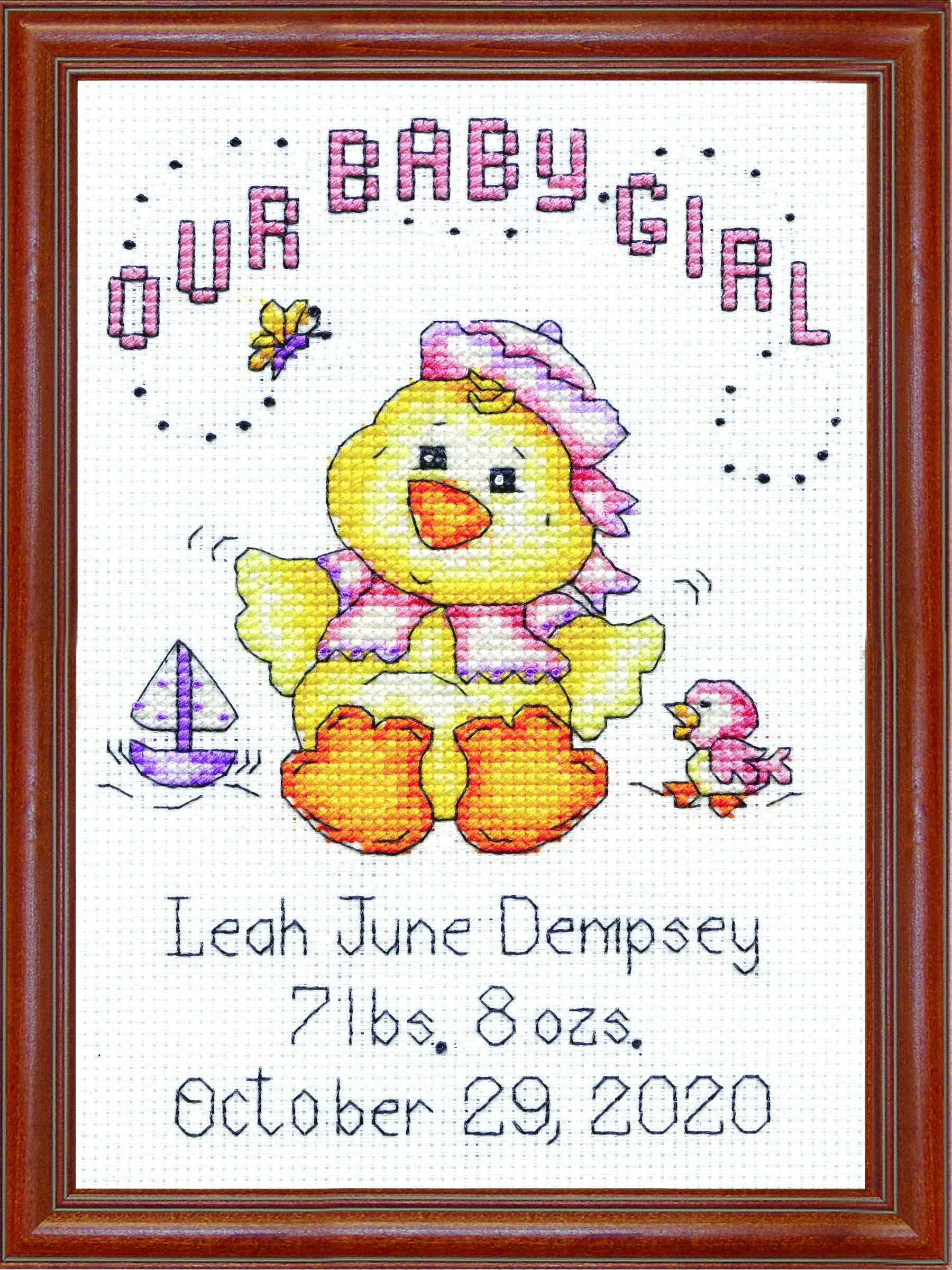 """Tobin 14 Count Our Baby Girl Chick Birth Record Mini Counted Cross Stitch K, 5"""" by 7"""""""