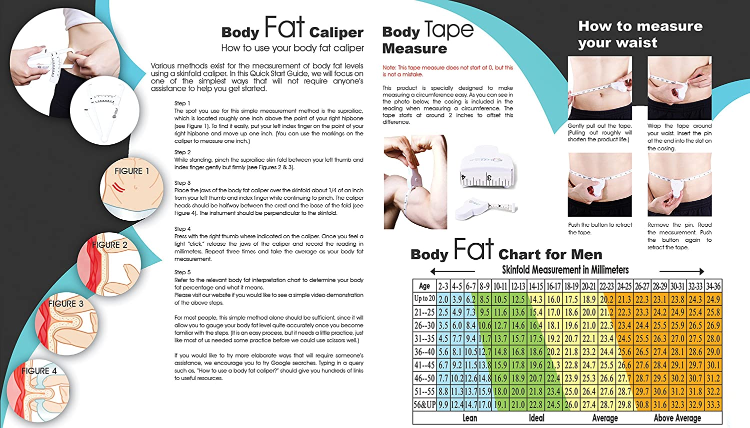 Body Fat Caliper, Body Tape Measure, BMI Calculator - Instructions for Skinfold Caliper and Body Fat Charts for Men and Women Included: Lightstuff Body Health Tool Kit: Health & Personal Care