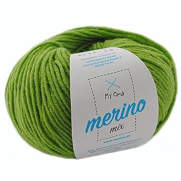 Merino Wolle zum Stricken * 1 Knäuel Merinowolle Apfelgrün (Fb 9467 ...