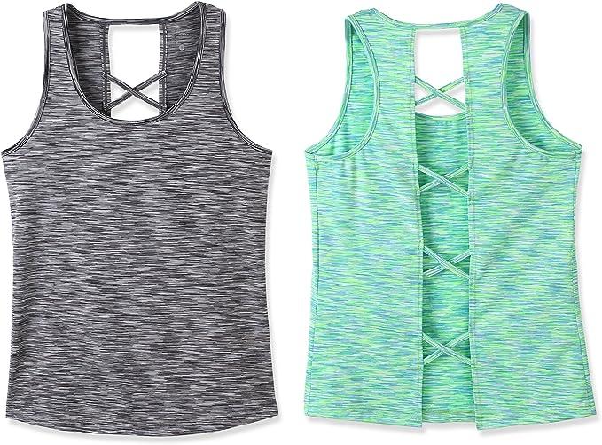 CLOUSPO Sexy Yoga Tops Open Back Criss Cross Space Dye Womens Yoga Shirt Yoga Tank for Sports Running Workout