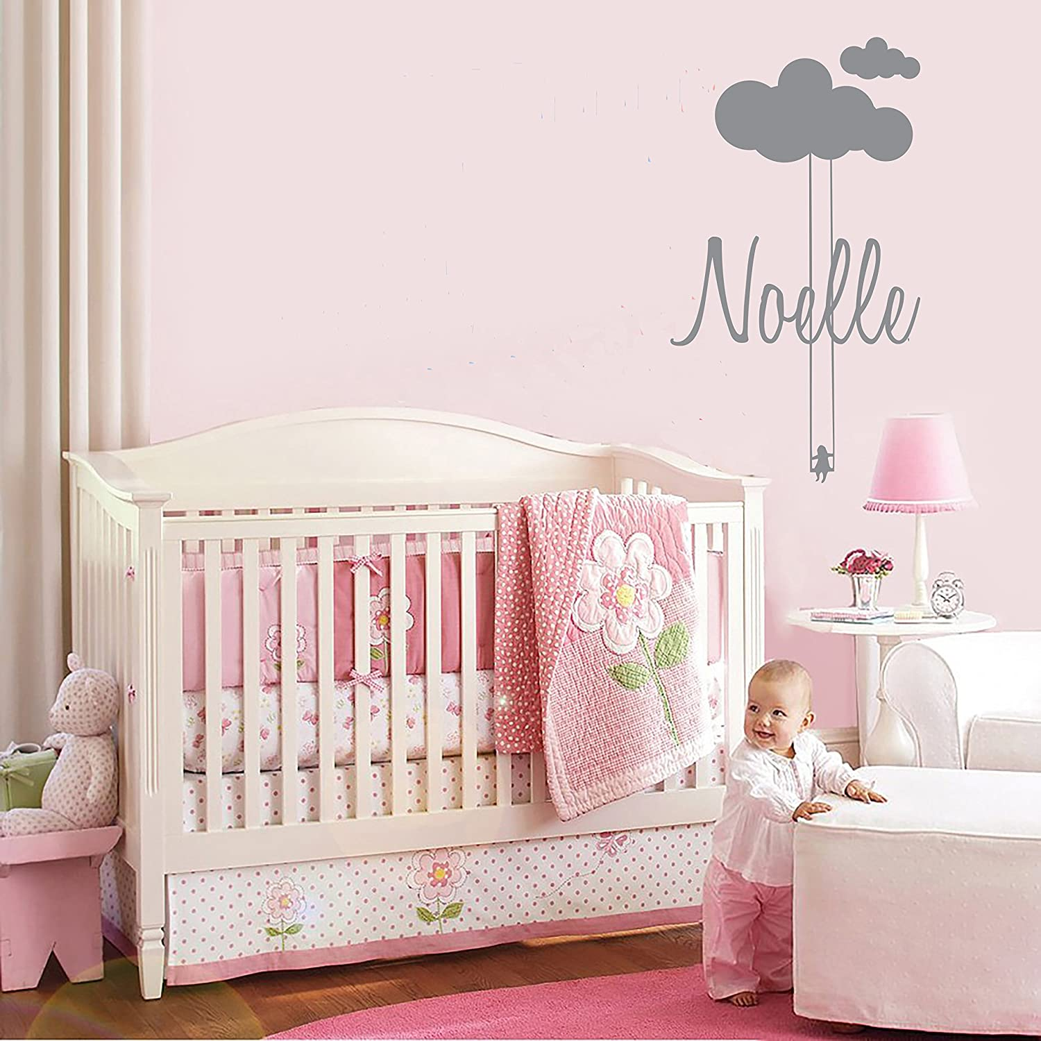 Wonderful Custom Name Clouds And Swing   Baby Girl   Nursery Wall Decal For Baby Room  Decorations   Mural Wall Decal Sticker For Home Childrenu0027s Bedroom (MM117)  (Wide ...